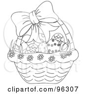 Royalty Free RF Clipart Illustration Of An Outlined Bow On A Basket With Grass And Easter Eggs