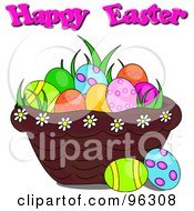 Royalty Free RF Clipart Illustration Of A Happy Easter Greeting Over A Basket Of Grass And Easter Eggs