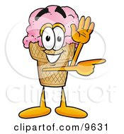 Ice Cream Cone Mascot Cartoon Character Waving And Pointing