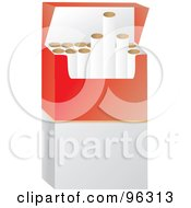 Royalty Free RF Clipart Illustration Of A Red And White Package Of Cigarettes