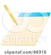 Royalty Free RF Clipart Illustration Of A Yellow Pencil Writing On A Notepad