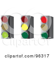 Royalty Free RF Clipart Illustration Of A Digital Collage Of Green Yellow And Red Stop Lights