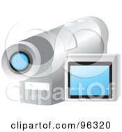 Royalty Free RF Clipart Illustration Of A Silver Handy Cam