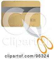Royalty Free RF Clipart Illustration Of Scissors Cutting A Gold Credit Card by Rasmussen Images