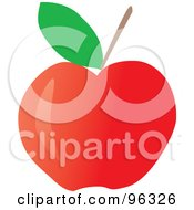 Royalty Free RF Clipart Illustration Of A Green Leaf And Stem On A Red Apple