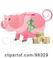 Pink Piggy Bank With Coins And A Curly Tail
