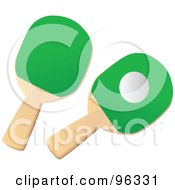 Royalty Free RF Clipart Illustration Of A Ping Pong Ball And Two Green Paddles
