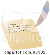 Royalty Free RF Clipart Illustration Of A Feather Quill Writing A Letter