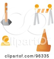 Royalty Free RF Clipart Illustration Of A Digital Collage Of Construction Cones Lights And Barriers