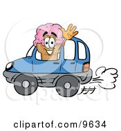 Ice Cream Cone Mascot Cartoon Character Driving A Blue Car And Waving