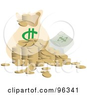 Messy Stack Of Coins And Casy By A Money Bag