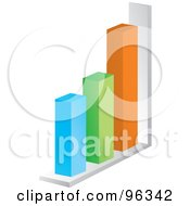 Royalty Free RF Clipart Illustration Of A 3d Bar Graph Of Blue Green Orange And White Columns by Rasmussen Images