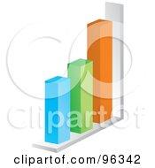 3d Bar Graph Of Blue Green Orange And White Columns