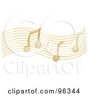 Golden Wave Of Music Notes