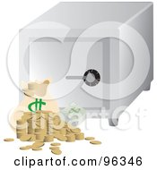 Royalty Free RF Clipart Illustration Of A Money Bag Coins And Cash By A Cubic Personal Safe by Rasmussen Images