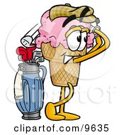Clipart Picture Of An Ice Cream Cone Mascot Cartoon Character Swinging His Golf Club While Golfing by Toons4Biz