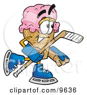 Ice Cream Cone Mascot Cartoon Character Playing Ice Hockey