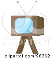 Retro Television On A Wooden Stand