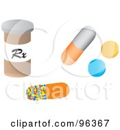 Digital Collage Of A Prescription Pill Bottle With Pills