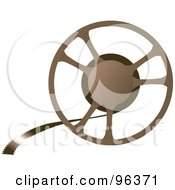 Royalty Free RF Clipart Illustration Of A Brown Movie Film Reel