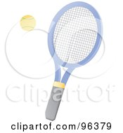 Yellow Tennis Ball And Blue Racket