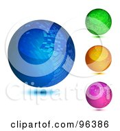 Royalty Free RF Clipart Illustration Of A Digital Collage Of Three Colorful Mosaic Orb Design App Icon Buttons by MilsiArt
