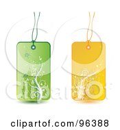 Royalty Free RF Clipart Illustration Of A Digital Collage Of Green And Yellow Floral Grunge Retail Tags by MilsiArt