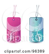Royalty Free RF Clipart Illustration Of A Digital Collage Of Pink And Blue Floral Grunge Retail Tags by MilsiArt