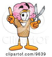Ice Cream Cone Mascot Cartoon Character Holding A Pair Of Scissors
