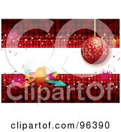 Royalty Free RF Clipart Illustration Of A Red Disco Ball Background With A White Text Bar Arrows And Splatters by MilsiArt