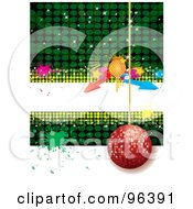 Royalty Free RF Clipart Illustration Of A Red Disco Ball Hanging Over Green And White With A White Text Bar Arrows And Splatters by MilsiArt