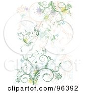 Royalty Free RF Clipart Illustration Of A Background Of Green Blue And Pink Vines With Splatters And Butterflies Over White by MilsiArt