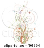 Royalty Free RF Clipart Illustration Of A Background Of Brown Green And Pink Vines Splatters And Butterflies Over White