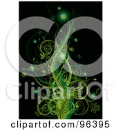 Royalty Free RF Clipart Illustration Of A Background Of Glowing Floral Green Vines With Butterflies On Black by MilsiArt