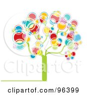 Tree Made Of Rainbow Colored Bubbles Or Circles