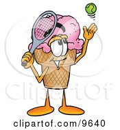 Ice Cream Cone Mascot Cartoon Character Preparing To Hit A Tennis Ball