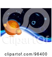 Group Of Orange Planets In Deep Space On A Blue Wave