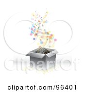 Royalty Free RF Clipart Illustration Of Magical Colorful Orbs Confetti And Stars Floating Out Of A Gift Box by MilsiArt