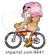 Clipart Picture Of An Ice Cream Cone Mascot Cartoon Character Riding A Bicycle by Toons4Biz
