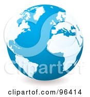 Royalty Free RF Clipart Illustration Of A Blue Globe With White Continents Centered On The Atlantic by michaeltravers