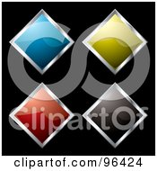 Royalty Free RF Clipart Illustration Of A Digital Collage Of Four Shiny Diamond Shaped App Icon Buttons by michaeltravers