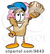 Clipart Picture Of An Ice Cream Cone Mascot Cartoon Character Catching A Baseball With A Glove by Toons4Biz