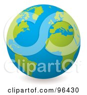 Royalty Free RF Clipart Illustration Of A Blue Globe With Green Continents Centered On The Atlantic by michaeltravers