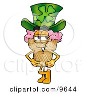 Ice Cream Cone Mascot Cartoon Character Wearing A Saint Patricks Day Hat With A Clover On It