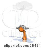Royalty Free RF Clipart Illustration Of A Lonely And Depressed Orange Man Holing A Book Over His Head To Shelter Himself From The Pouring Rain by Leo Blanchette
