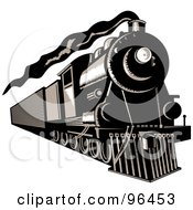 Royalty Free RF Clipart Illustration Of A Black And White Steam Train Moving Forward