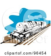 Royalty Free RF Clipart Illustration Of A Steam Train Moving Along A Track
