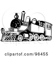 Royalty Free RF Clipart Illustration Of A Black And White Steam Train From A Front Side Angle