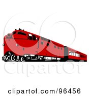 Royalty Free RF Clipart Illustration Of A Red Diesel Train
