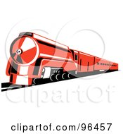 Royalty Free RF Clipart Illustration Of A Reddish Orange Steam Train